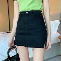 skirt Spring 2020 S M L XL White gray black light blue dark blue Short skirt sexy High waist Denim skirt Solid color Type A 18-24 years old More than 95% Denim Pear flower smile other Asymmetric pocket button zipper Other 100% Exclusive payment of tmall