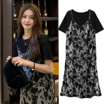 Dress Korean version Short sleeve have more cash than can be accounted for summer Crew neck Decor