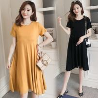Dress You Qing Black yellow M L XL XXL leisure time Short sleeve Medium length summer Crew neck Solid color