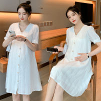 Dress You Qing Embroidery collar skirt lace collar skirt embroidery collar skirt + white safety pants lace collar skirt + white safety pants M L XL XXL Korean version Short sleeve have more cash than can be accounted for summer Crew neck Solid color