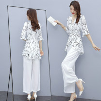 Fashion suit Summer 2021 M L XL XXL XXXL Hundred flowers + white trousers hundred flowers + black trousers white coat + white trousers 25-35 years old All of them DY21916 Viscose Polyester 100% Pure e-commerce (online only)