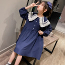 Dress Navy C007 academy dress yellow female Wulin diary 110cm 120cm 130cm 140cm 150cm 160cm 170cm Other 100% spring and autumn Korean version Long sleeves Solid color cotton Irregular 70771 girls' double lace collar dress Autumn 2020