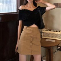 shirt Skirt s skirt m black top Note the options Summer 2021 other 30% and below Short sleeve commute Regular stand collar routine Solid color 18-24 years old Self cultivation Mi Wei Ling Korean version Button New polyester fiber 19 %  Other 81 % Pure e-commerce (online only)