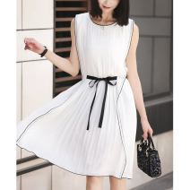 Dress Spring 2021 white S M L XL Middle-skirt singleton  Sleeveless commute Crew neck High waist Solid color Socket A-line skirt Others 25-29 years old Type A Jane Bailey Korean version Three dimensional decoration with bow fold and tie W26Q22287 71% (inclusive) - 80% (inclusive) Chiffon