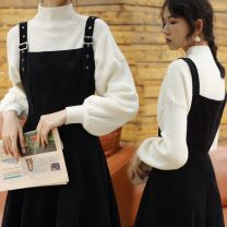 Dress Spring 2021 White top (good quality of core spun yarn) single piece, black strap skirt (corduroy composite high quality), sweater + skirt suit (only good quality) two pieces S suggests less than 90 kg, m suggests 90-100 kg, l suggests 100-110 kg, XL suggests 110-120 kg, 2XL suggests 120-135 kg