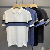 Polo shirt GQO Fashion City routine Black white gray blue 4XL M L XL 2XL 3XL standard Other leisure summer Short sleeve G2239 Business Casual routine youth Viscose (viscose) 70.5% polyester 29.5% No iron treatment Splicing Spring 2021
