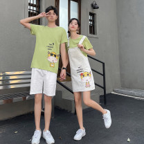 T-shirt Youth fashion Men's short sleeve + Shorts short sleeve + Suspender skirt routine S M L XL 2XL 3XL Leading Century Short sleeve Crew neck easy Other leisure summer BK99 Cotton 95% new polyester 5% teenagers routine like a breath of fresh air Cotton wool Summer 2021 Cartoon animation printing