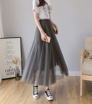 skirt Summer 2020 Average size Black, white, grey, pink, tender Middle-skirt Sweet Natural waist A-line skirt Type A 18-24 years old 91% (inclusive) - 95% (inclusive) other polyester fiber Mesh, stitching Mori