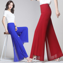 Casual pants Two feet, two feet one, two feet two, two feet three, two feet four, two feet five, two feet six, two feet seven, two feet eight Summer of 2019 trousers Straight pants High waist commute routine 81% (inclusive) - 90% (inclusive) Kafimayi other Korean version polyester fiber