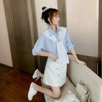 Women's large Summer 2020 Blue shirt + white skirt orange shirt + white skirt pink shirt + white skirt S M L XL Dress Two piece set commute easy moderate Cardigan Short sleeve stripe Korean version Polo collar routine other printing and dyeing Pile sleeve FY6650 Fuyi 25-29 years old Button Other 100%