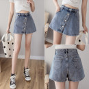 Jeans Summer 2020 Black light blue S M L XL 2XL 3XL 4XL 5XL shorts High waist Wide legged trousers routine 18-24 years old Zipper button Multi Pocket Cotton denim light colour W3128 Xiangxiufang 31% (inclusive) - 50% (inclusive) Other 100% Pure e-commerce (online only)