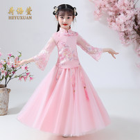 Tang costume 110,120,130,140,150,160 Polyester 100% female summer There are models in the real shooting routine He Yuxuan polyester fiber Class B Broken flowers Cotton liner Chinese Mainland Guangdong Province Shantou City