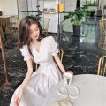 Dress Summer 2021 white S M L XL longuette singleton  Short sleeve commute V-neck Solid color Socket A-line skirt puff sleeve Others 18-24 years old Qintian Korean version hhh2098 More than 95% other Other 100% Pure e-commerce (online only)