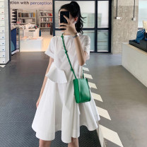 Dress Summer 2021 white S M L XL Short skirt singleton  Short sleeve commute Crew neck Loose waist Solid color Socket A-line skirt routine Others 18-24 years old Type A Hangsang Korean version Asymmetry RA520 More than 95% other Other 100% Pure e-commerce (online only)