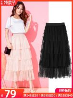 skirt Spring of 2019 Average size 7105 apricot, 7105 black, collection plus cart priority, 7112 white, 7112 pink, 7112 gray, 7112 black, 7102 apricot, 7102 black longuette commute High waist Cake skirt Dot Type A 25-29 years old GT121838-7105 More than 95% Other / other other Gauze Korean version