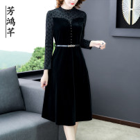 Dress Autumn 2020 black M L XL 2XL 3XL 4XL longuette singleton  Long sleeves commute Crew neck middle-waisted Solid color Socket A-line skirt routine Others 35-39 years old Fang Hongqian zipper More than 95% other Other 100% Pure e-commerce (online only)