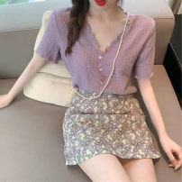 Women's large Summer 2021 [two piece set] white top + floral skirt [two piece set] purple top + floral skirt [single piece] purple top [single piece] white top [single piece] floral skirt S M L XL Two piece set commute Socket Decor Retro V-neck routine sa4f34adf4 Bixinhan 18-24 years old Short skirt