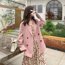 suit Spring 2020 Pink coat XS 75-90kg, s 90-100kg, m 101-115kg, l 115-130kg Long sleeves tailored collar other 18-24 years old 31% (inclusive) - 50% (inclusive) other Other / other Button, skirt suit