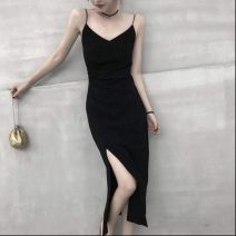 Dress Spring 2021 black S M L XL XXL longuette singleton  Sleeveless commute V-neck High waist Solid color Socket One pace skirt routine camisole 18-24 years old Type H pepx backless pe1578569428 More than 95% brocade other Other 100% Pure e-commerce (online only)