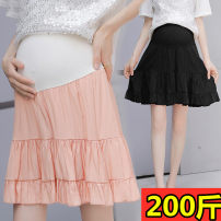 skirt Maternity Skirt Medium length Versatile M L XL XXL XXL large XXL other sizes summer Pink Black Solid color Chiffon