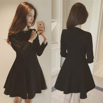 Women's large Autumn 2020 Dress singleton  commute easy moderate Socket Long sleeves Solid color Korean version Crew neck Medium length Three dimensional cutting routine Ying Xiyue 18-24 years old Middle-skirt Other 100% Pure e-commerce (online only) zipper