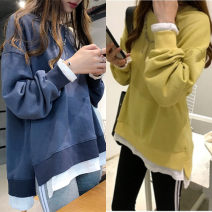 Women's large Autumn 2020 T-shirt Fake two pieces commute easy moderate Socket Long sleeves Solid color Korean version Crew neck Medium length Collage routine 18-24 years old Other 100% Pure e-commerce (online only)