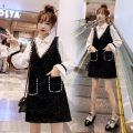 Women's large Autumn 2020 Black dress / light mature / fashionable / Goddess model / small fragrance / design sense minority / tea break gentle wind / foreign style / net red heart machine Dress Fake two pieces commute easy Socket Solid color Korean version Polo collar Medium length puff sleeve SEe12