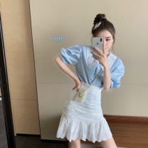 shirt Blue shirt petal skirt S M Spring 2021 other 96% and above Short sleeve Original design Regular stand collar stripe 30-34 years old Raspberry feather Other 100% Pure e-commerce (online only)