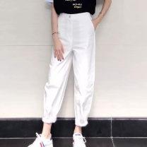 Casual pants White Khaki black 1/XS 2/S 3/M 4/L 5/XL Spring 2020 trousers Overalls High waist 5100168-4216963-001 Novel amass Zen Cotton 96.3% polyurethane elastic fiber (spandex) 3.7%