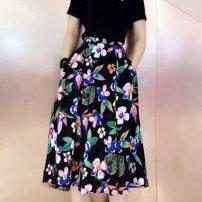 skirt Summer 2020 XS/1 S/2 M/3 L/4 XL/5 black Mid length dress High waist 1200059-1A27111-001. 91% (inclusive) - 95% (inclusive) Novel amass Zen polyester fiber Polyester 92% polyurethane elastic fiber (spandex) 8%