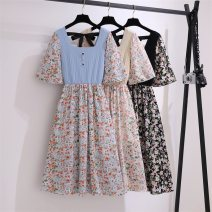 Women's large Summer 2021 Black light blue apricot Dress Fake two pieces easy thin Socket Short sleeve Broken flowers square neck Three dimensional cutting pagoda sleeve LJR6970# Beautiful and beautiful backless Medium length Polyester 80% other 20% Pure e-commerce (online only) bow