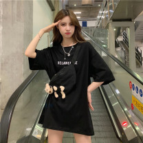 T-shirt White black M L XL Summer 2020 Short sleeve Crew neck easy Medium length routine commute cotton 96% and above 18-24 years old Korean version youth letter Caffein vine printing Cotton 100% Pure e-commerce (online only)