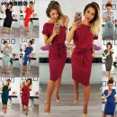 Dress Autumn of 2019 S M L XL XXL XXXL Middle-skirt singleton  Short sleeve Crew neck middle-waisted Solid color Socket One pace skirt routine 18-24 years old More than 95% other Triacetate fiber (triacetate fiber) 100%