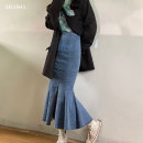 skirt Spring 2021 S M L XL Black blue Mid length dress commute High waist Denim skirt Solid color Type A 25-29 years old Hgsg8179 denim skirt with ruffles More than 95% Denim HGSG other Ruffle zipper Korean version Other 100% Pure e-commerce (online only)