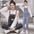 Jeans Spring 2021 Blue suspender single piece smoke grey suspender single piece blue suspender + white leaky shoulder T-shirt smoke grey suspender + white leaky shoulder T-shirt single piece white leaky shoulder T-shirt S M L XL 2XL Ninth pants High waist rompers routine Dark color C896522D3F3546346