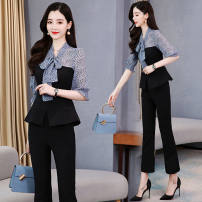 shirt Youth fashion Kenkesheng M L XL 2XL 3XL 4XL White [top + pants] suit pink [top + pants] Suit Blue [top + pants] suit champagne [top + pants] suit pink top [single piece] black pants [single piece] blue top [single piece] routine square neck Long sleeves standard Home A01# Other 100% 2021