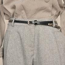 Belt / belt / chain top layer leather female belt Hip hop Single loop Pin buckle other soft surface 1.0cm alloy rivet 95cm 100cm 105cm 110cm Spring 2020