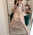 Dress Summer 2021 Peach Pink S M L XL longuette singleton  Sleeveless commute V-neck High waist Decor Socket A-line skirt routine camisole 18-24 years old Manyi Butterfly printing MYD-7322A More than 95% Chiffon other Other 100%