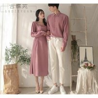 Dress Spring of 2019 Mid length dress singleton  Long sleeves Sweet other High waist Solid color zipper other Princess sleeve Others 18-24 years old Be practical Frenulum More than 95% other Triacetate fiber (triacetate fiber) 100% Ruili