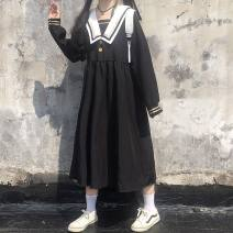 Dress Autumn 2016 Black S 【70-95】,M 【96-110】,L 【111-120】,XL 【121-130】,2XL 【131-145】 longuette singleton  Long sleeves Sweet Admiral routine Others 18-24 years old Other / other Print, stitching, buttons 31% (inclusive) - 50% (inclusive) other other