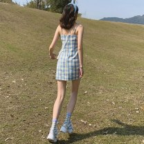 Dress Summer 2021 Graphic skirt S M L XL Mid length dress singleton  Sleeveless commute stand collar High waist lattice Socket A-line skirt other camisole 18-24 years old Xingti Korean version A424 More than 95% other Other 100% Pure e-commerce (online only)