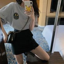 Dress Summer 2021 black S M L XL Short skirt Two piece set Short sleeve commute Crew neck High waist Solid color A-line skirt other 18-24 years old Type A Warm words Korean version 71% (inclusive) - 80% (inclusive) polyester fiber Polyester 80% other 20% Pure e-commerce (online only)