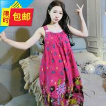 Nightdress Other / other Average size (weight less than 160) Sweet camisole Leisure home Middle-skirt summer Plants and flowers youth square neck viscose  printing More than 95% Cotton silk fabric fr549972643224