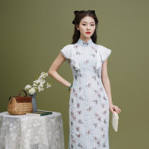 cheongsam Spring 2021 S M L XL Picture color Short sleeve Short cheongsam Retro Low slit daily Oblique lapel Decor 18-25 years old Piping Xizi makeup Old lady polyester fiber Polyester 100% Pure e-commerce (online only)