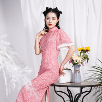 cheongsam Spring 2021 S M L XL Pink Short sleeve long cheongsam Retro Low slit daily Oblique lapel Decor 25-35 years old Piping Yujing ballad Old lady Vinylon Polyvinyl alcohol fiber (vinylon) 100% 96% and above