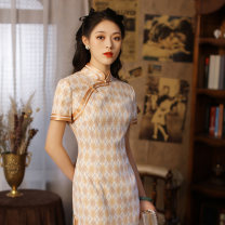 cheongsam Spring 2021 S M L XL Picture color Short sleeve long cheongsam Retro Low slit daily Oblique lapel lattice 25-35 years old Piping Calendula officinalis Old lady polyester fiber Polyethylene terephthalate (polyester) 100% 96% and above