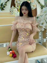 Dress Summer 2021 Short skirt singleton  Short sleeve commute One word collar middle-waisted other A-line skirt Others 18-24 years old Type A Xiao Feng lady XF-0510-2097 More than 95% other other Other 100% S M L XL Sequins