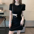 Dress Summer 2021 black S M L Short skirt singleton  Short sleeve commute Crew neck High waist Solid color Socket One pace skirt other 18-24 years old Xiao Feng Korean version Hollowing out XF-0414-Q5002 More than 95% other Other 100%