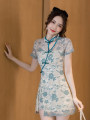 cheongsam Summer 2021 S M L XL 2XL Picture color Short sleeve Short cheongsam Retro High slit daily Oblique lapel Decor 18-25 years old Piping XF-0319-0862 Xiao Feng other Other 100%