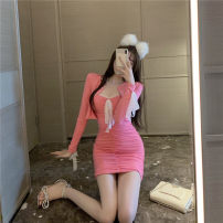 Lace / Chiffon Summer 2021 Blue grey suit peach pink suit S M L Long sleeves commute Socket Two piece set Self cultivation Medium length V-neck Solid color routine 18-24 years old Sonryton Korean version 31% (inclusive) - 50% (inclusive) Other 100% Pure e-commerce (online only) polyester fiber